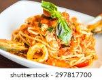 spaghetti seafood with tomato... | Shutterstock . vector #297817700