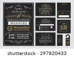 vintage chalkboard wedding... | Shutterstock .eps vector #297820433