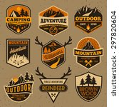 Set of summer camping outdoor adventure and mountain badge logo, emblem, label design | Shutterstock vector #297820604