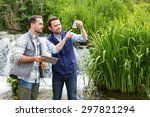 view of a scientist and... | Shutterstock . vector #297821294