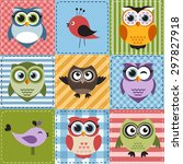 patchwork with owls and birds.... | Shutterstock . vector #297827918