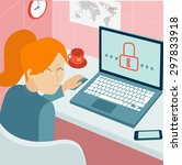 woman using laptop at home... | Shutterstock .eps vector #297833918