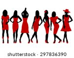 collection of women silhouettes ... | Shutterstock .eps vector #297836390