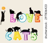 I Love Cats Card With Black...