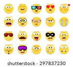 set of 20 cute smiley faces in... | Shutterstock .eps vector #297837230