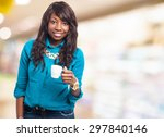 cool black woman drinking coffee | Shutterstock . vector #297840146