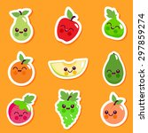 cute fruit character sticker... | Shutterstock .eps vector #297859274