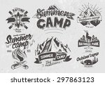 set outdoor camp typography... | Shutterstock .eps vector #297863123