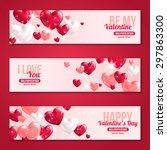 valentines day horizontal... | Shutterstock .eps vector #297863300