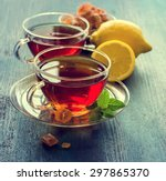 cup of tea with mint and... | Shutterstock . vector #297865370