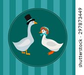 vector card with gray goose and ... | Shutterstock .eps vector #297873449