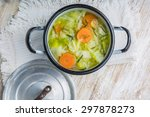 Fresh Cabbage Soup In A Pot On...