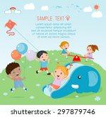 kids at playground  kids time. | Shutterstock .eps vector #297879746