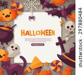 halloween background. vector... | Shutterstock .eps vector #297880484