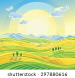 sunny rural landscape with... | Shutterstock .eps vector #297880616