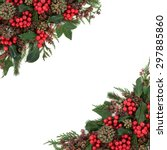 christmas and winter flora with ... | Shutterstock . vector #297885860