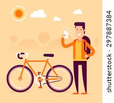 bikeman in front of modern bike ... | Shutterstock .eps vector #297887384