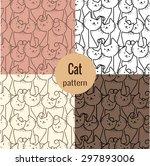 cat patterns set  pattern... | Shutterstock .eps vector #297893006