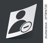 white sticker with black user...