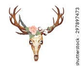 watercolor deer skull  coral... | Shutterstock .eps vector #297897473