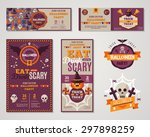 set of happy halloween greeting ... | Shutterstock .eps vector #297898259