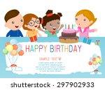 happy birthday  for kids.  | Shutterstock .eps vector #297902933