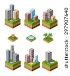 a set of isometric urban... | Shutterstock .eps vector #297907640