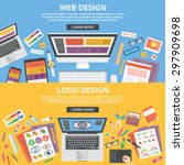 web design  logo design flat... | Shutterstock .eps vector #297909698
