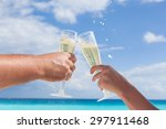 clanging glasses with champagne ... | Shutterstock . vector #297911468