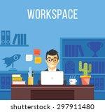 man at work. man in suit in... | Shutterstock .eps vector #297911480