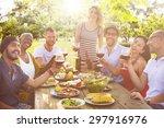friends outdoors party... | Shutterstock . vector #297916976