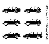 set of silhouettes of cars on... | Shutterstock .eps vector #297917534
