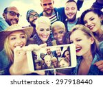 friendship selfie happiness... | Shutterstock . vector #297918440