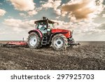 farmer in tractor preparing... | Shutterstock . vector #297925703