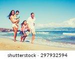 young happy family having fun... | Shutterstock . vector #297932594