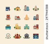 vector web flat icons set  ... | Shutterstock .eps vector #297944588