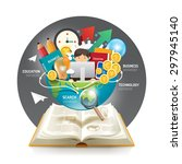 open book infographic... | Shutterstock .eps vector #297945140