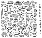 set hand drawn doodle food and... | Shutterstock .eps vector #297971420