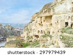 the carved in rock shelters are ... | Shutterstock . vector #297979439