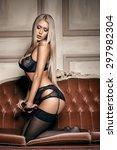 sexy woman in seductive black... | Shutterstock . vector #297982304