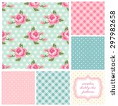 set of cute seamless shabby... | Shutterstock .eps vector #297982658