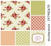 set of cute seamless shabby... | Shutterstock . vector #297982670