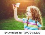 cute girl throwing paper...   Shutterstock . vector #297995309