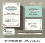 vintage art deco wedding... | Shutterstock .eps vector #297998198