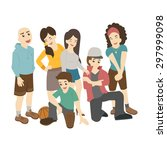 group of smiling teenage... | Shutterstock .eps vector #297999098