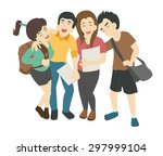 group of smiling teenage... | Shutterstock .eps vector #297999104