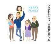 big happy family with parents... | Shutterstock .eps vector #297999890