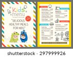 cute colorful kids meal menu... | Shutterstock .eps vector #297999926