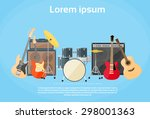 musical instruments set guitar...