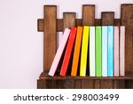 wooden shelf with books on wall ...   Shutterstock . vector #298003499